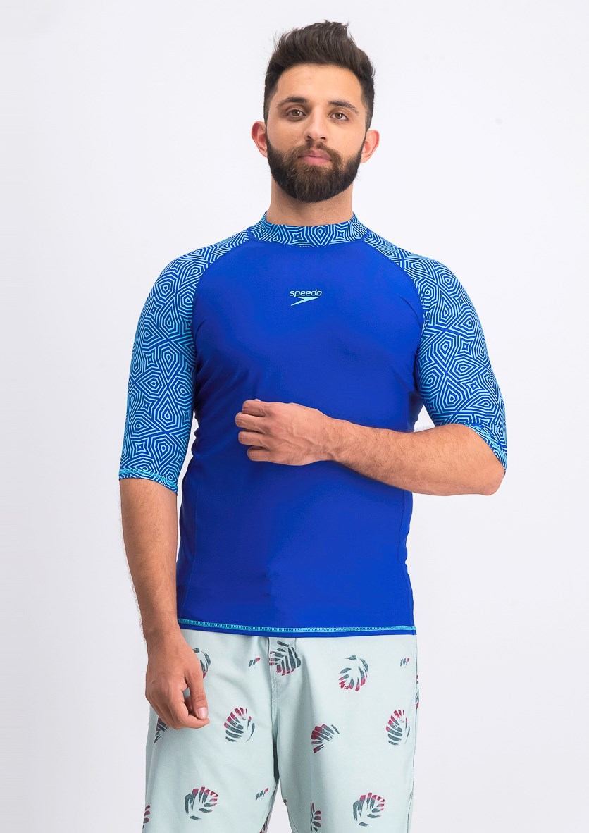 Men's Pulse Rash Guard, Chrome Blue/Aqua