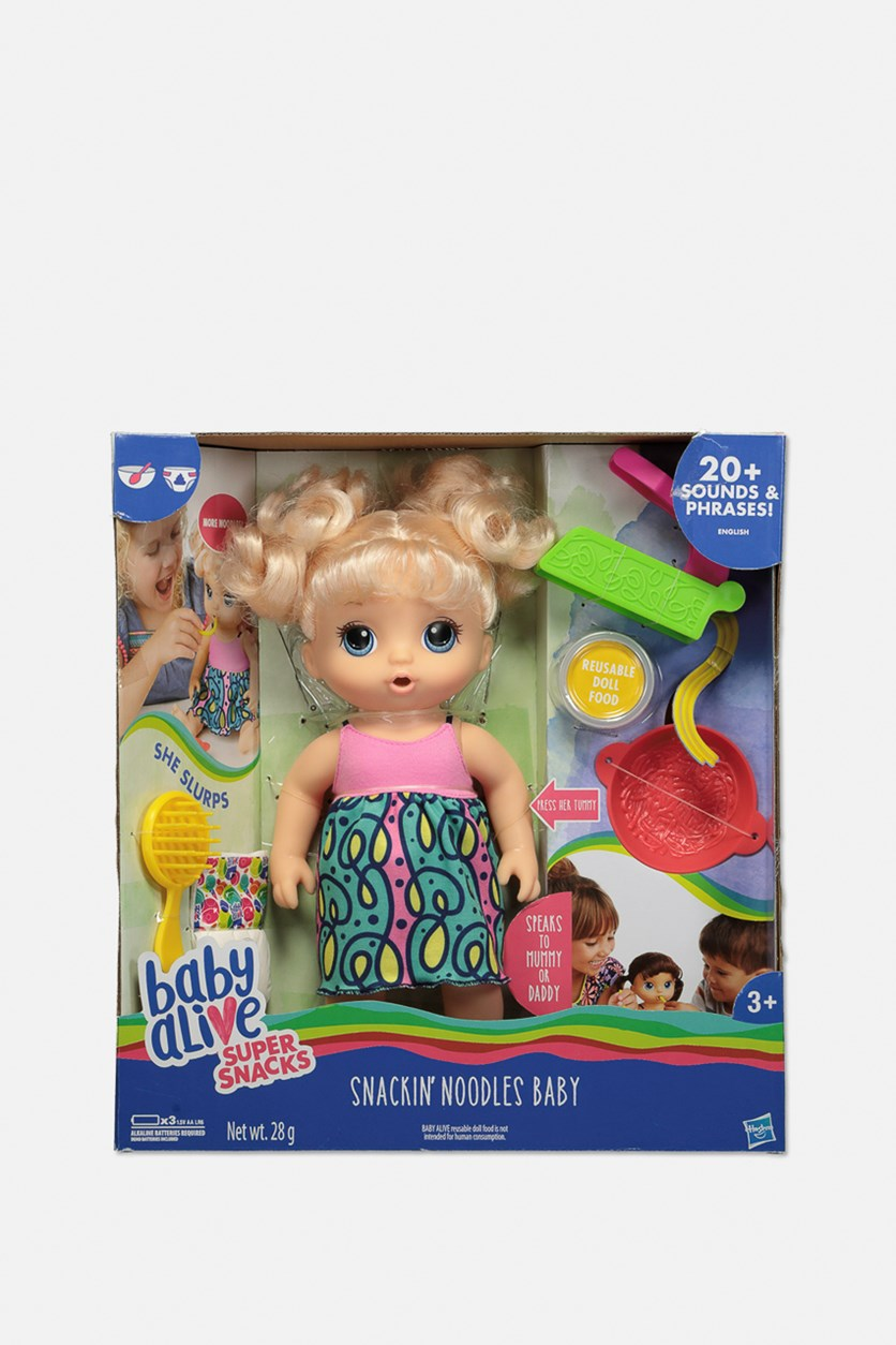 Baby Alive Snackin Noodles Baby Doll, Green/Pink Combo
