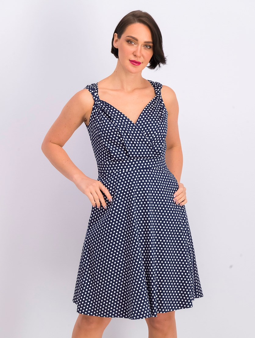 Women's Polka Dot Print Sleeveless Dress, Navy/White