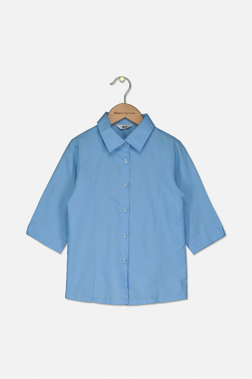 Kids Boys Plain Casual Shirt, Blue