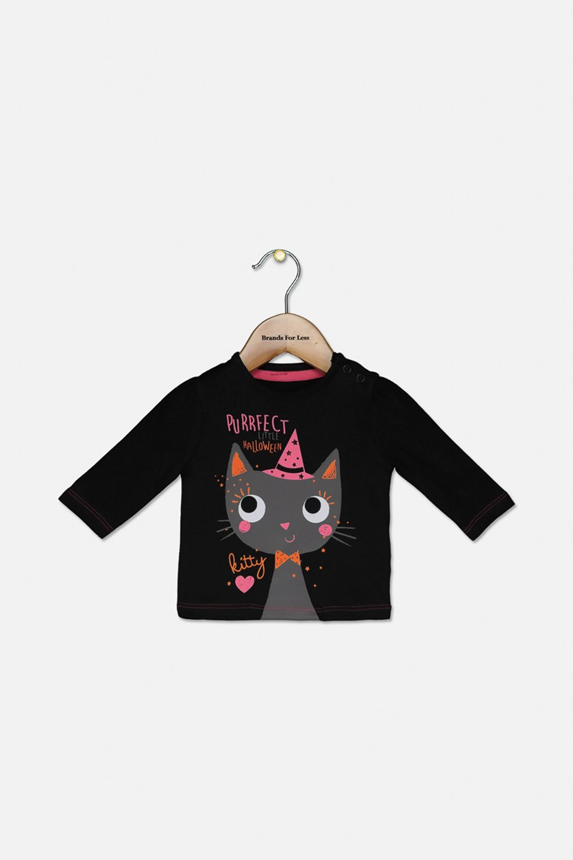 Baby Girls Halloween Little Kitty Top, Black