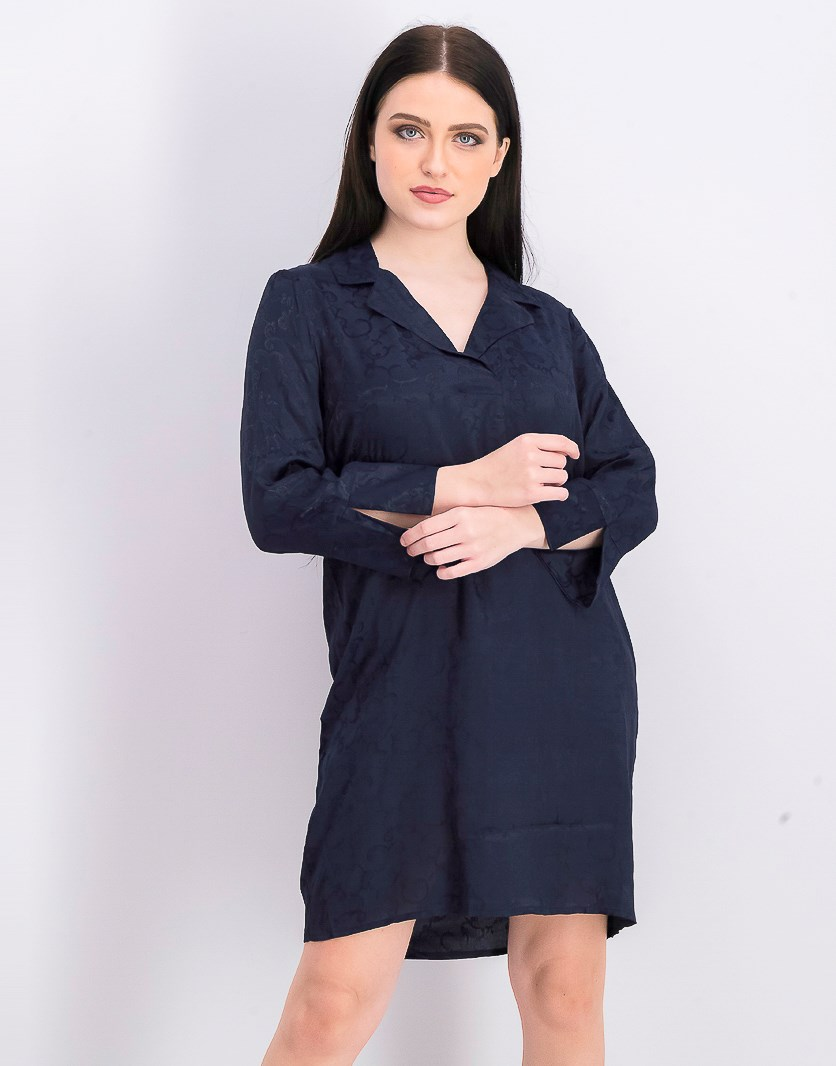 Women's Long Sleeve Shirt Dress, Dark Sapphire