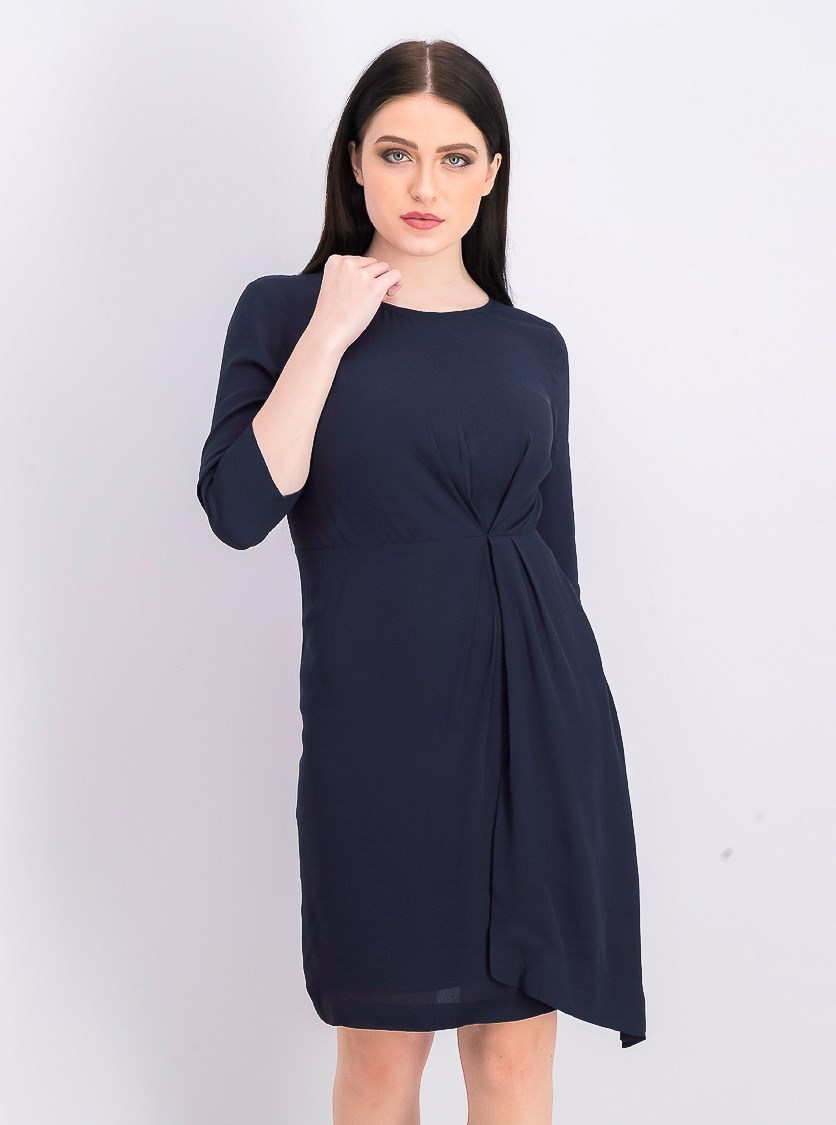 Women's Plain Long Sleeve Shift Dress, Dark Sapphire