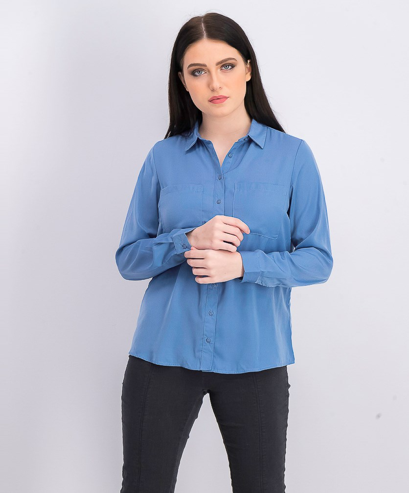 Women's Long Sleeve Blouse, Light Blue