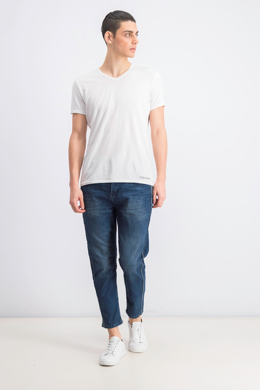 Men's Loose Cropped Jeans, Denim Wash