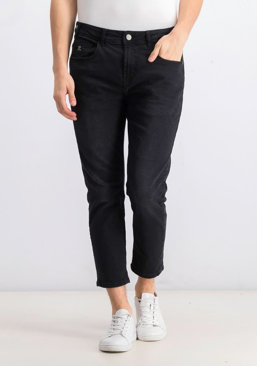 Men's Loose Cropped Jeans, Black