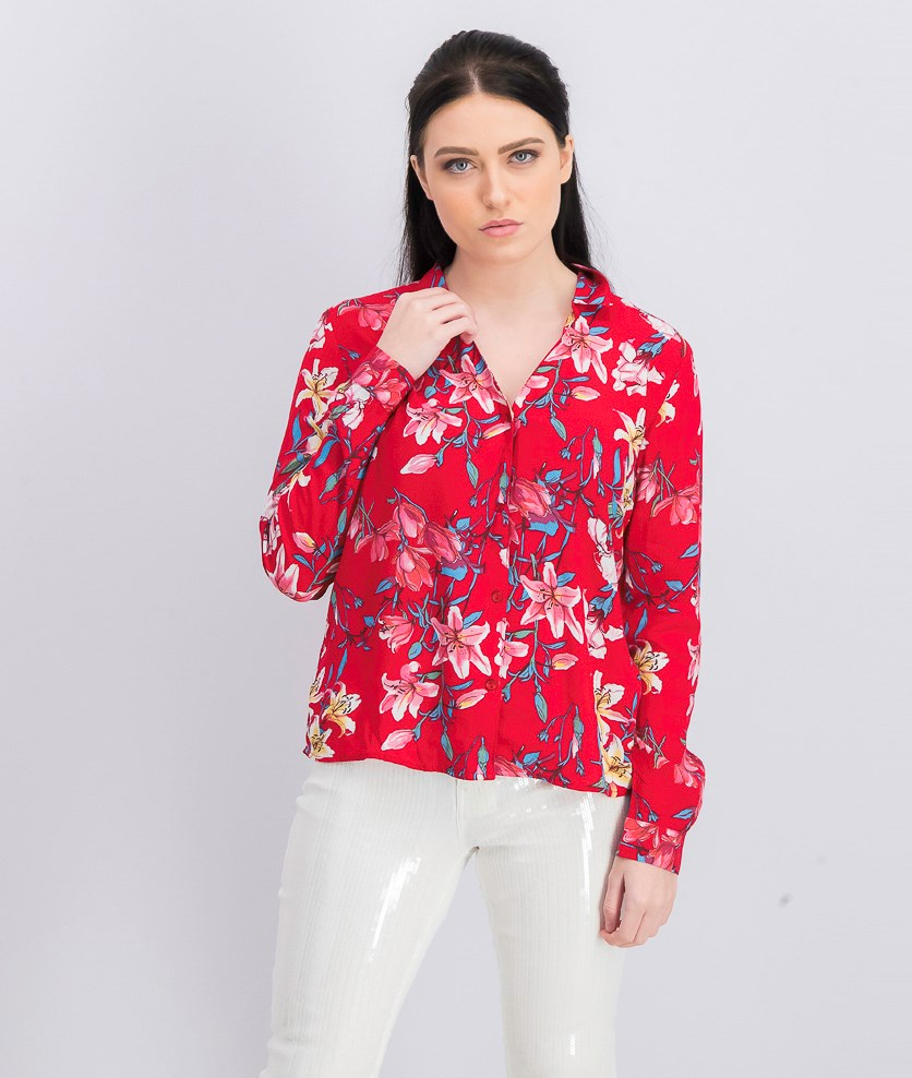 Women's Floral Long Sleeve Blouse, Red