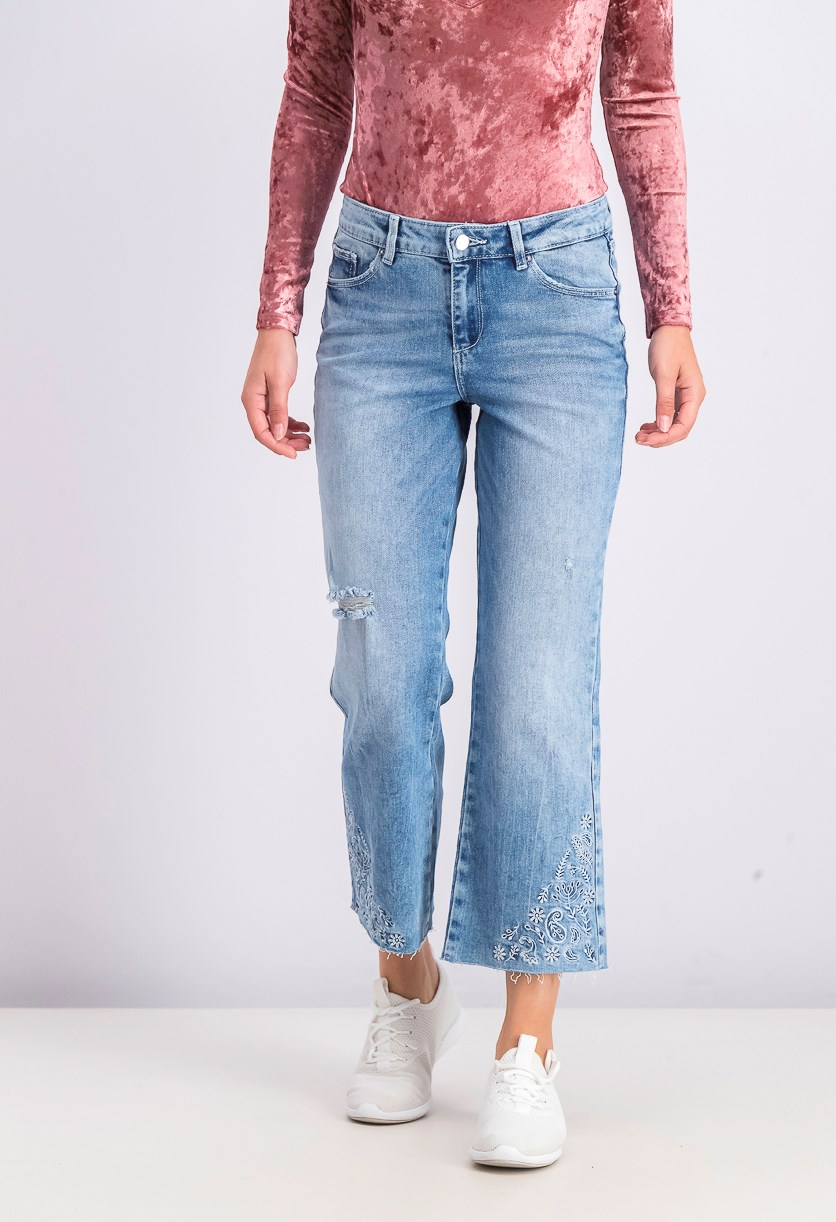 Women's Bootcut Cropped Jeans, Blue