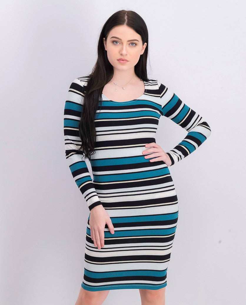 Women's Striped Long Sleeve Dress, Black/Green/White