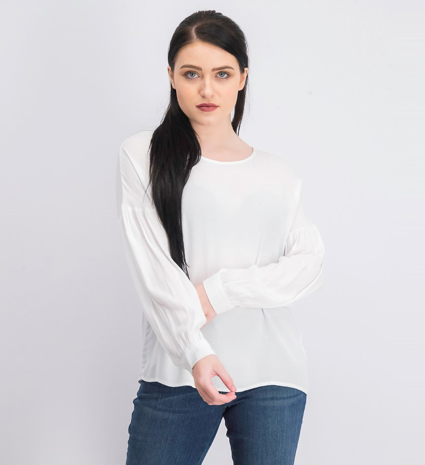 Women's Long Sleeve Back Button Blouse, White