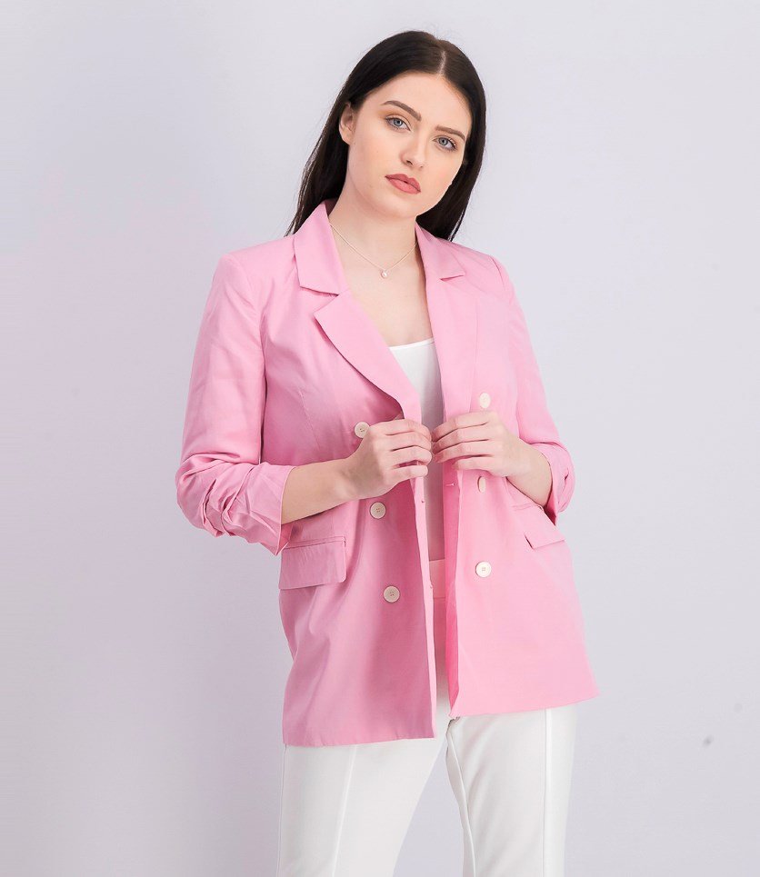 Women's Double Breasted Blazer, Pink