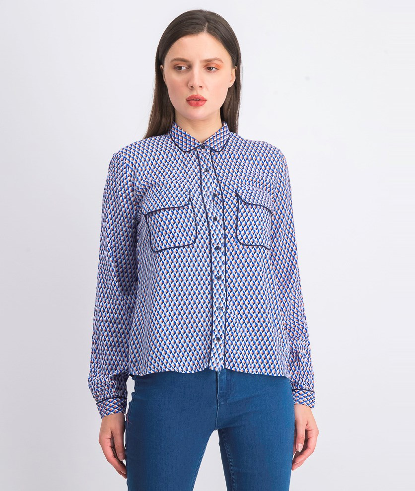 Women's Allover Pint Button Top, Blue Combo