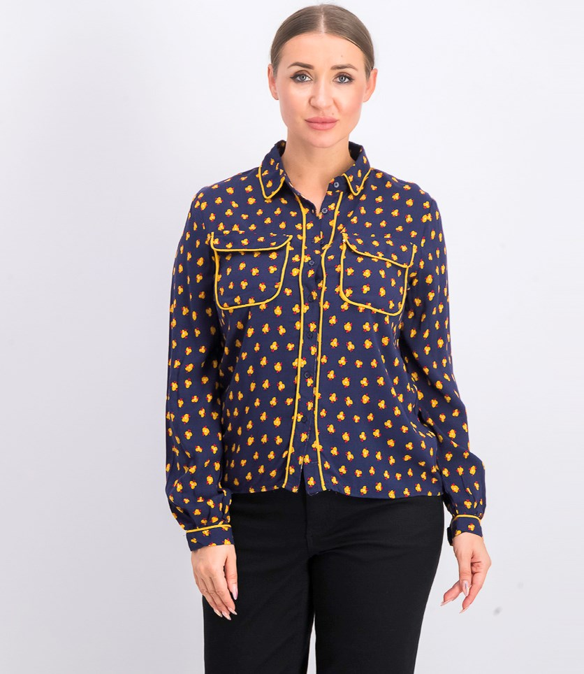 Women's Allover Print Blouse, Navy/Yellow.Red