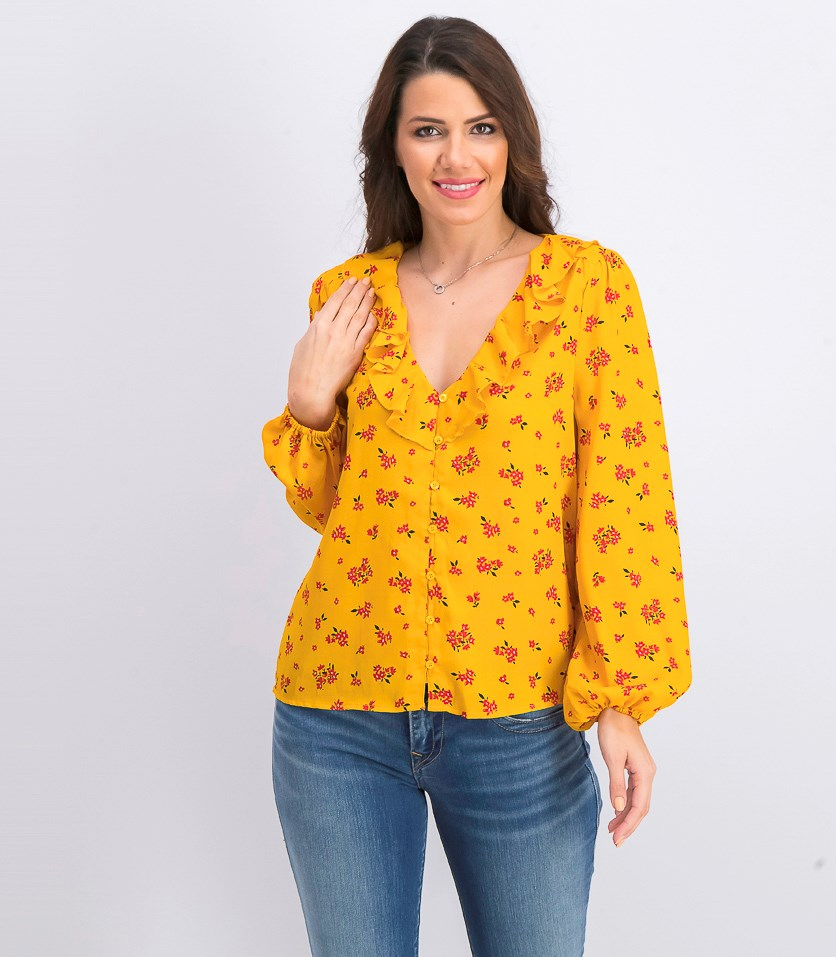 Women's Floral Long Sleeve Top, Gold