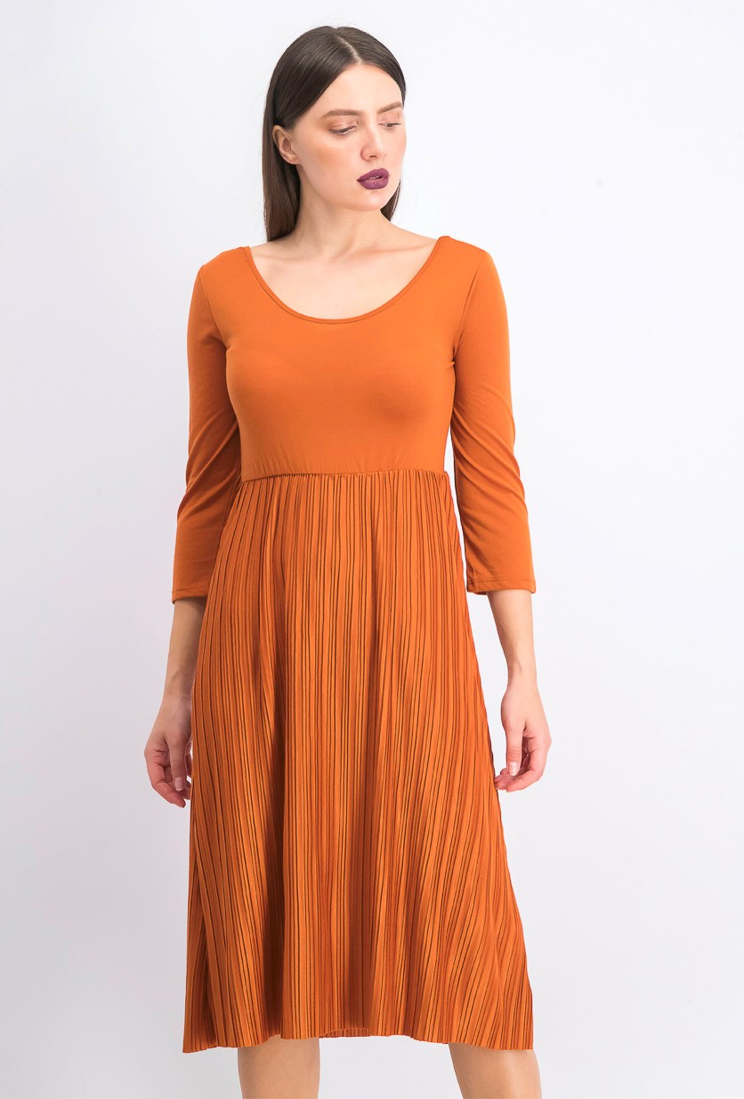 Women's Pleated 3/4 Sleeve Maxi Dress, Orange/Brown