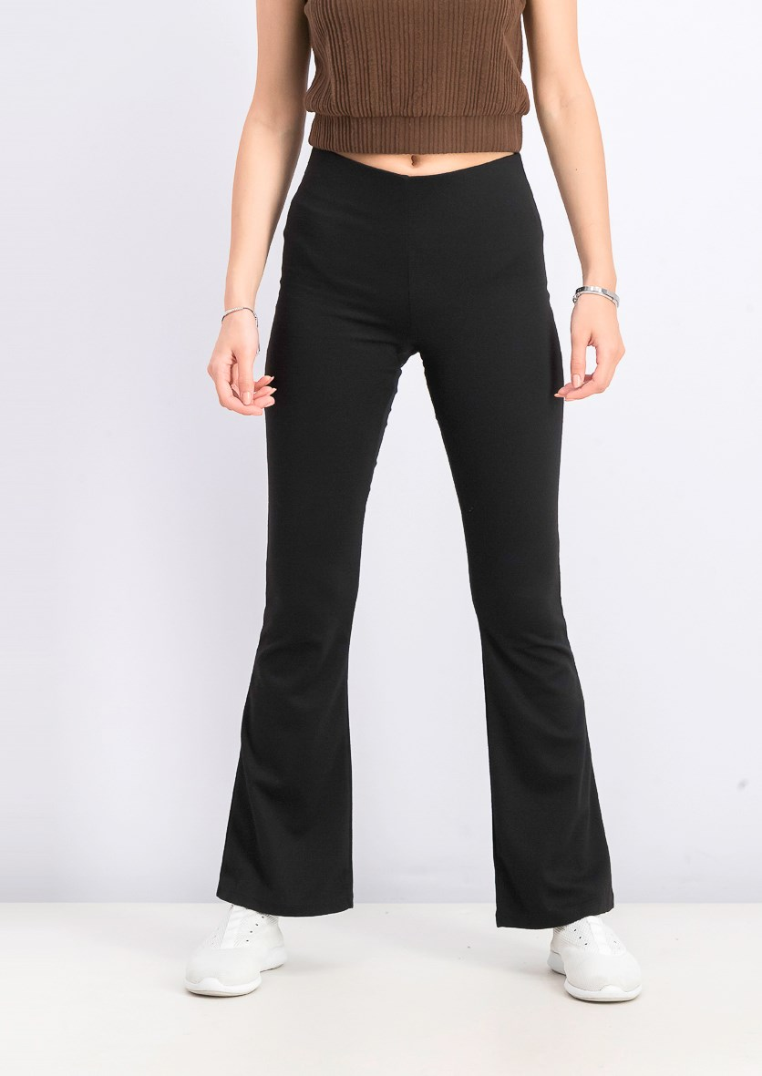 Women's Wide Leg Stretchable Pants, Black