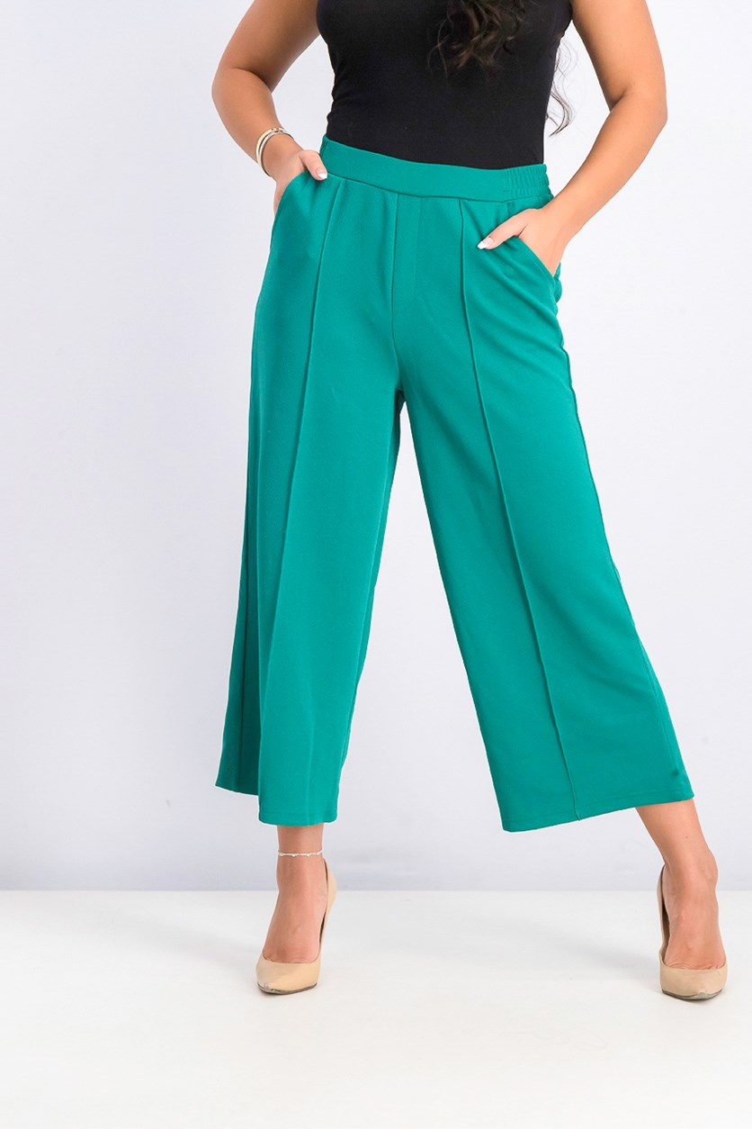 Women's Wide Leg Pull On Pants, Green