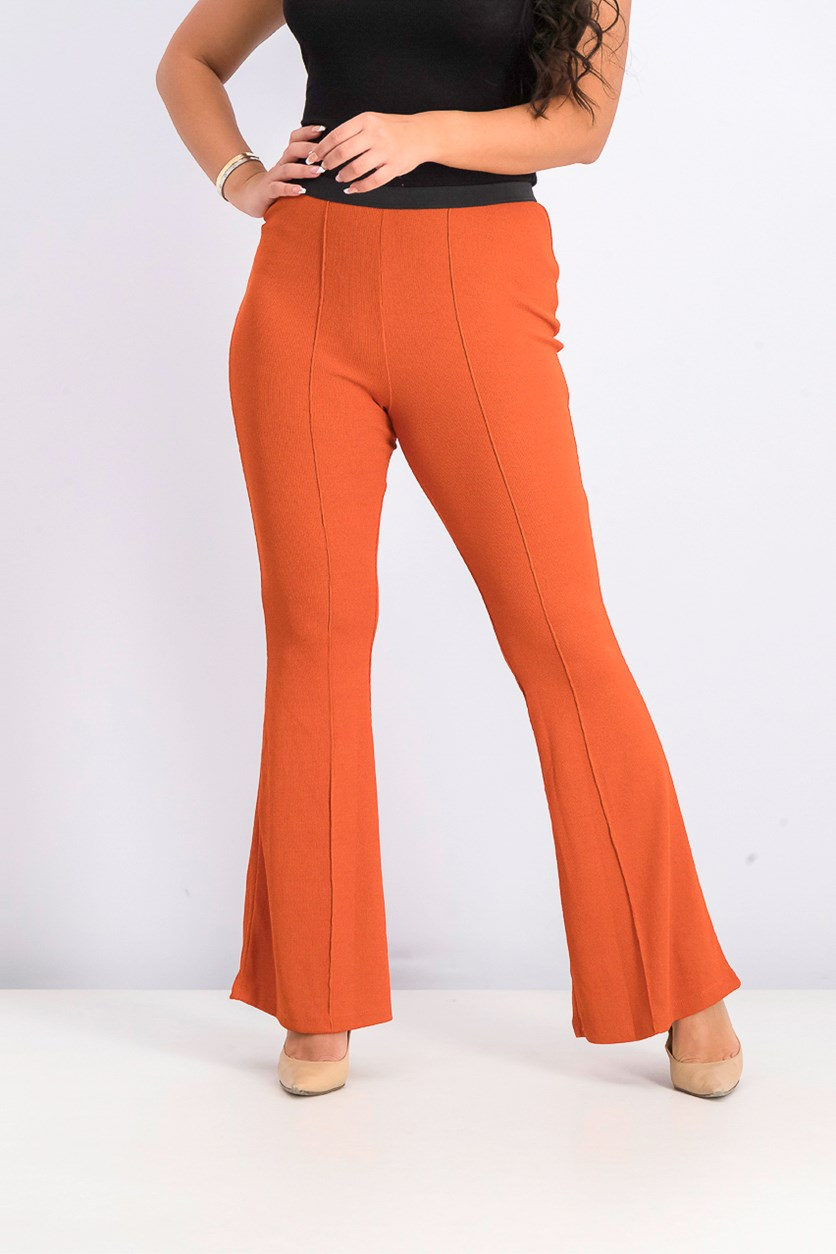 Women's Pull-on Wide Hem Pants, Rust