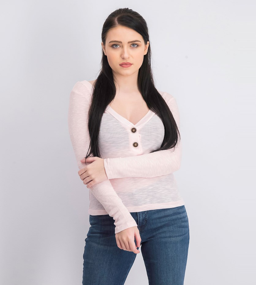 Women's Long Sleeve Plain Top, Pink