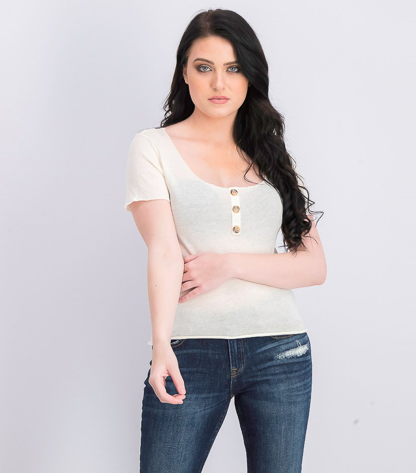 Women's Button Detail Top, Ivory