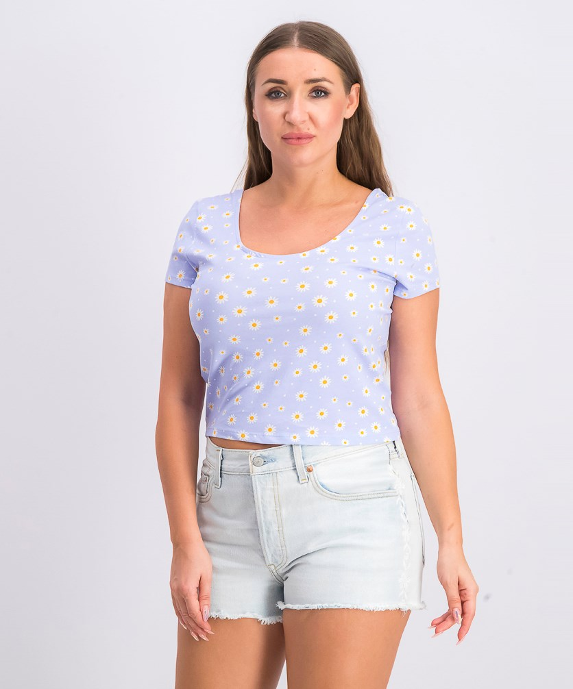 Women's Scoop Neckline Cropped Top, Blue