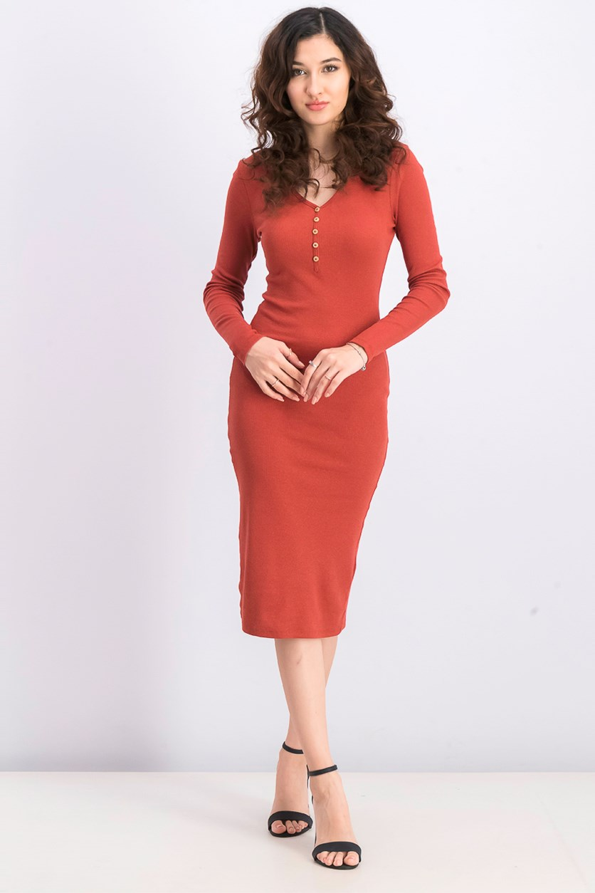 Women's Fitted Ribbed Dress, Rust