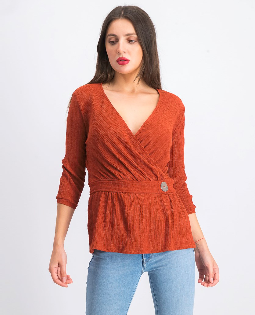 Women's Wrap Front Top, Rust