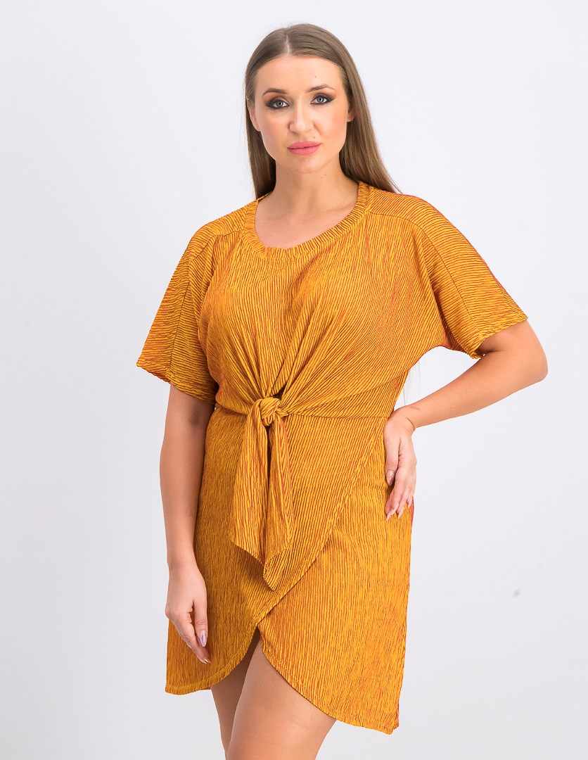 Women's Pleated A Line Dress, Gold
