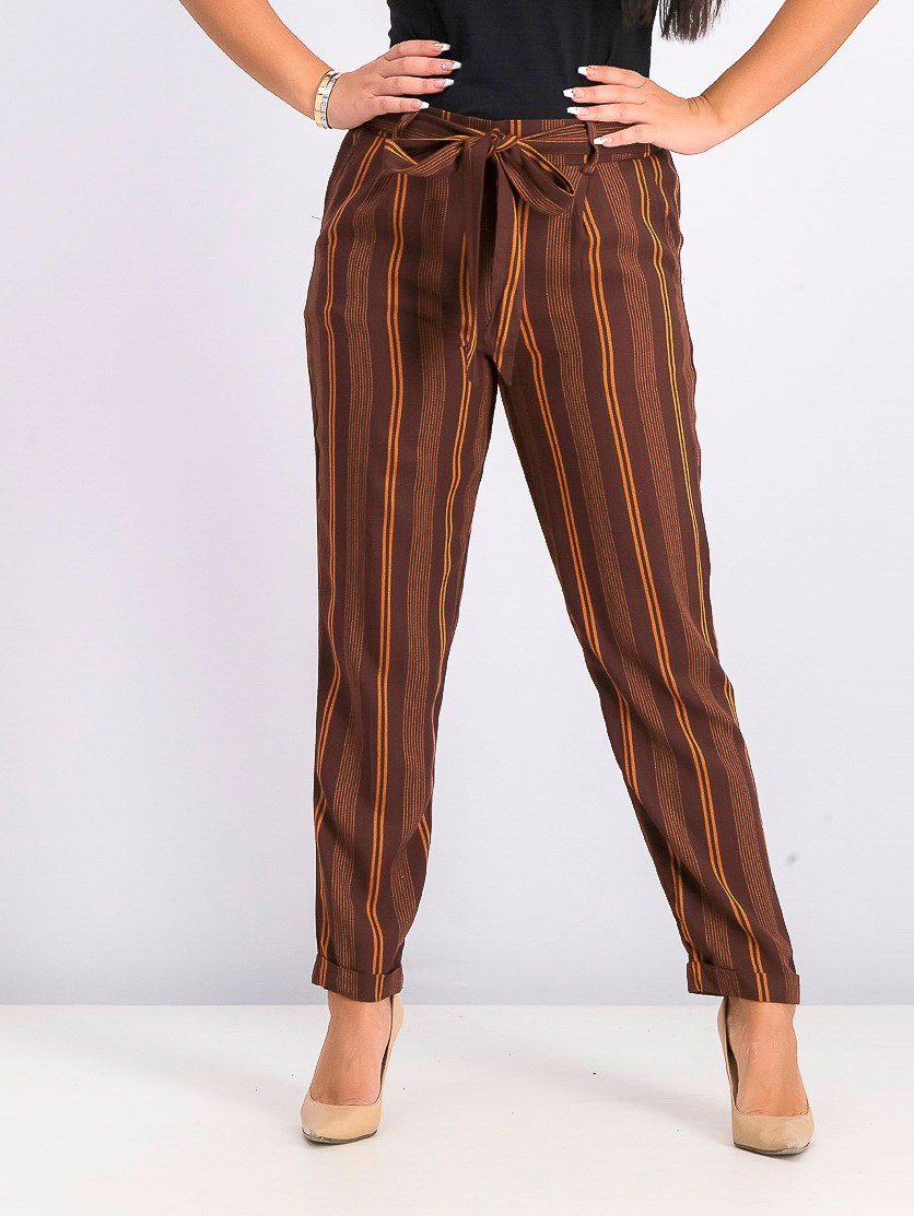 Women's Stripe Pants, Brown/Orange