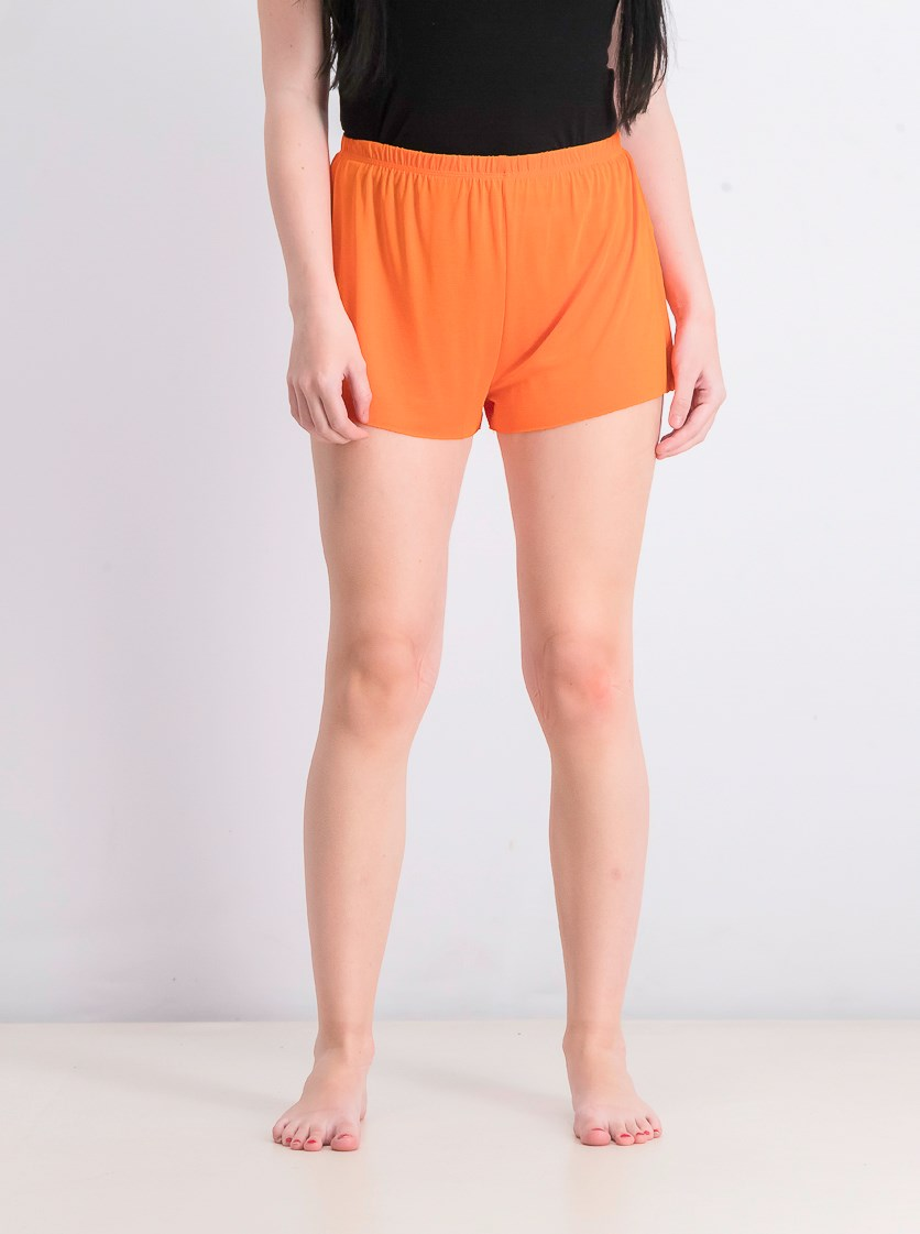 Women's Solid Pull On Shorts, Orange