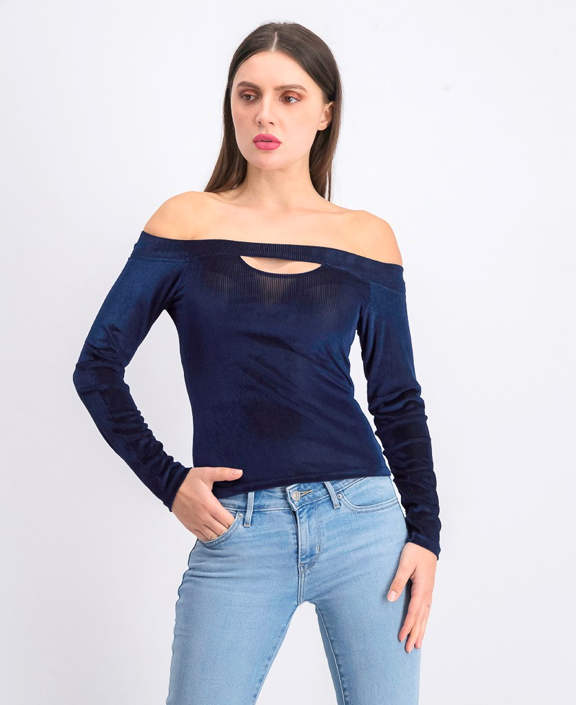 Women's Off Shoulder Textured Top, Navy Blue