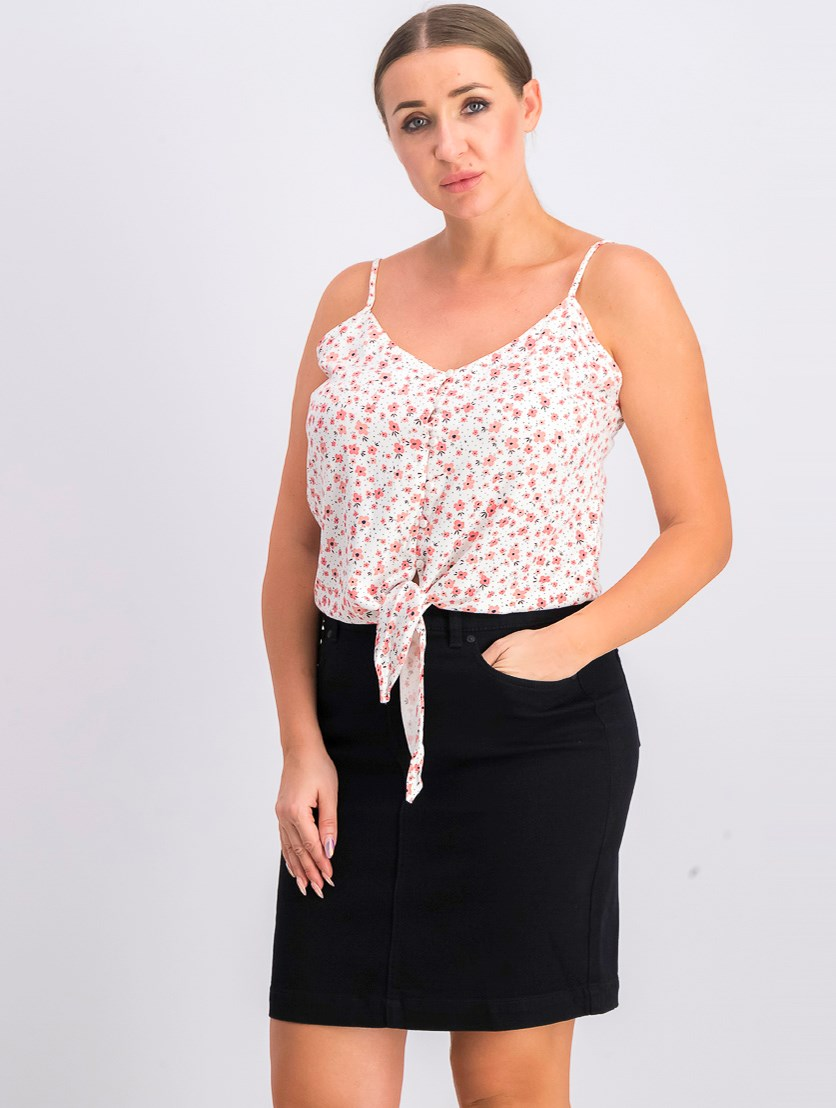 Women's Floral Sleeveless Top, White/Red
