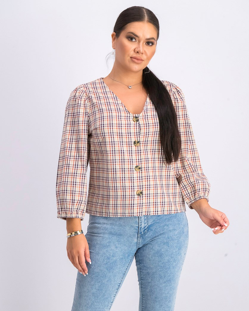 Women's Plaid Buttoned Top, Ivory Combo