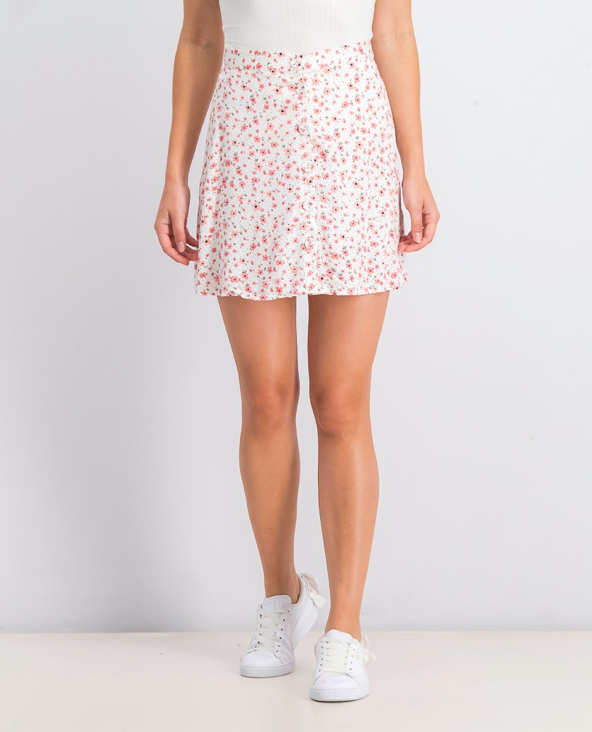 Women's Floral Print Mini Skirt, White Combo