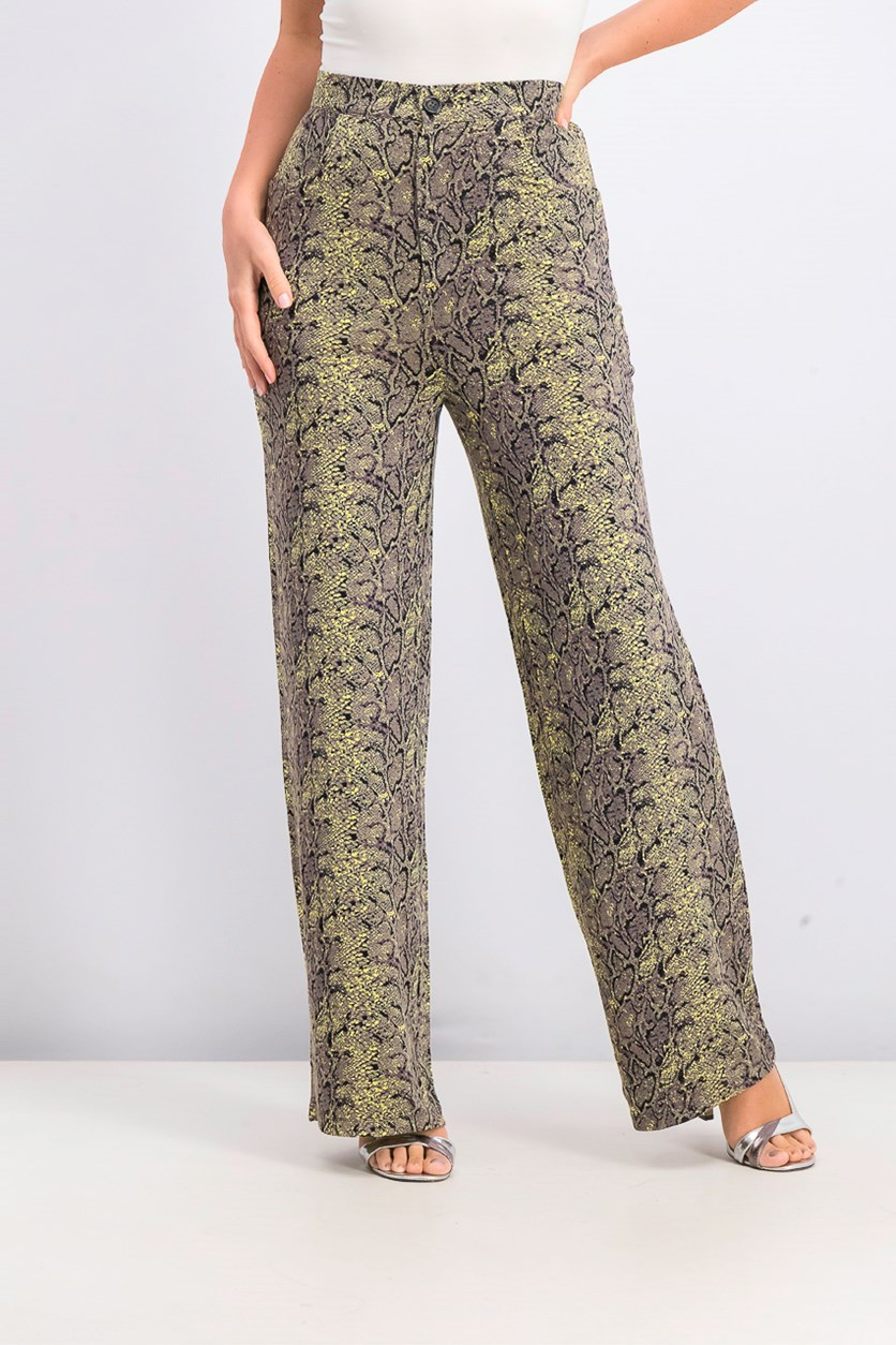 Women's High Waist Trousers, Yellow Green/Black Combo