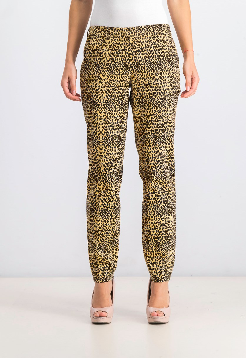 Women's Printed Trousers, Black/Gold