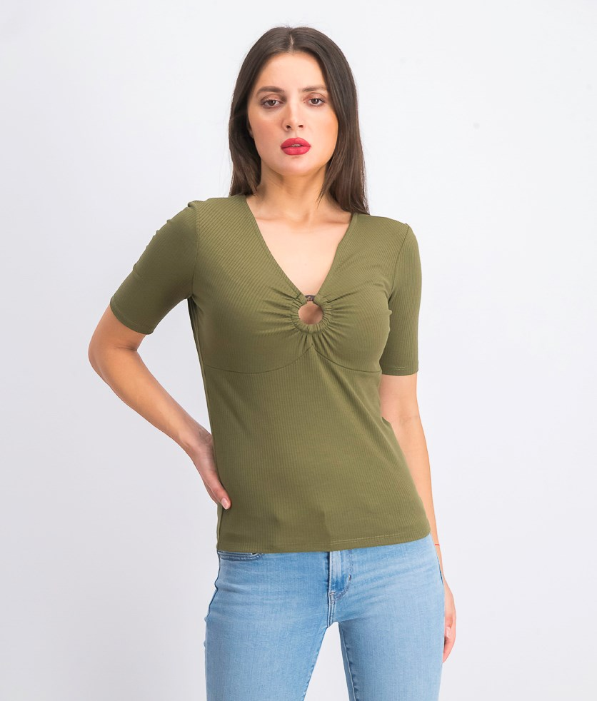 Women's Ribbed Top, Olive