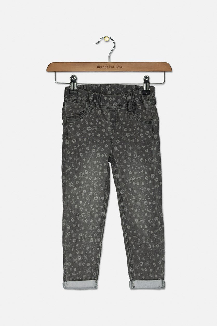 Girl's All Over Print Pants, Wash Black/Gray