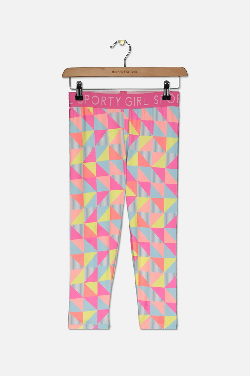 Girl's Geometric Print Leggings , Pink Combo