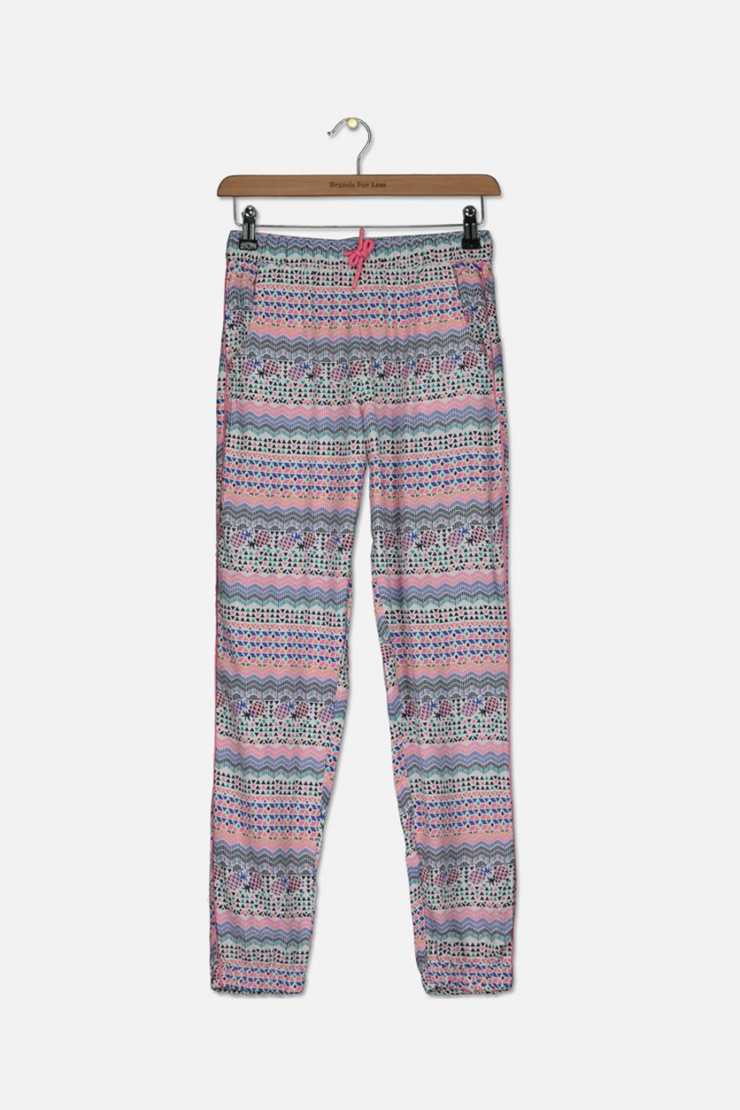 Girls Geometric Jogger Pants, Pink Combo