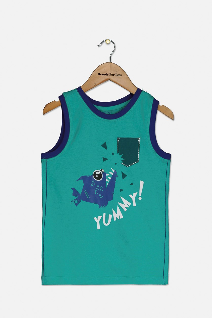 Boy's Graphic Tank Top, Green/Blue