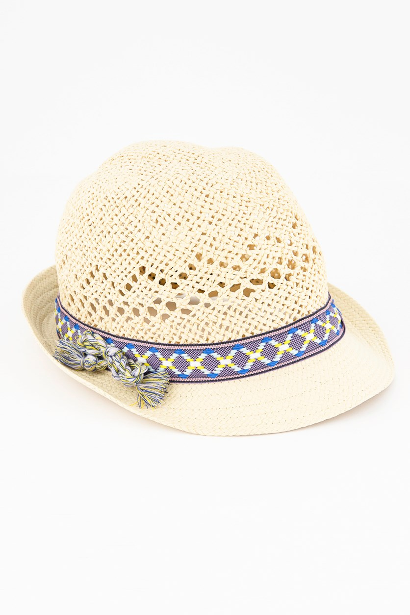Kids Girls Braided Hat, Natural