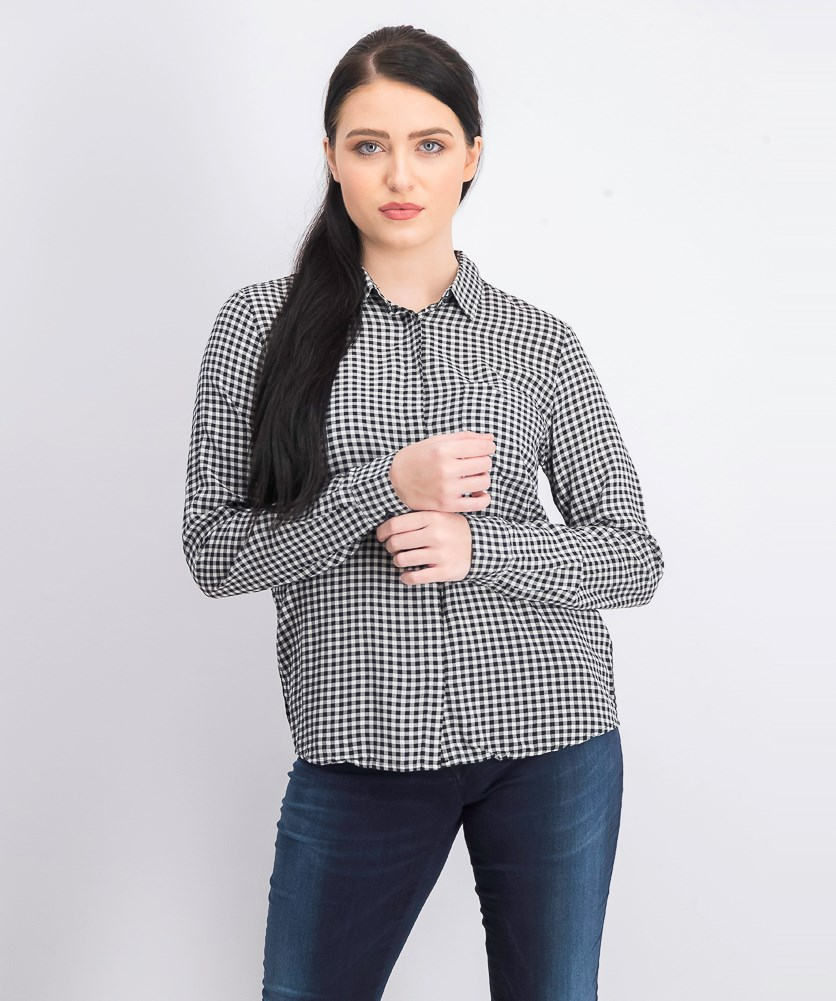 Women's Plaid Long Sleeve Top, Black/White