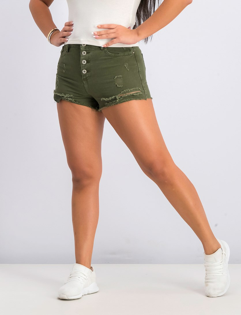Women's Rip Denim Short, Olive