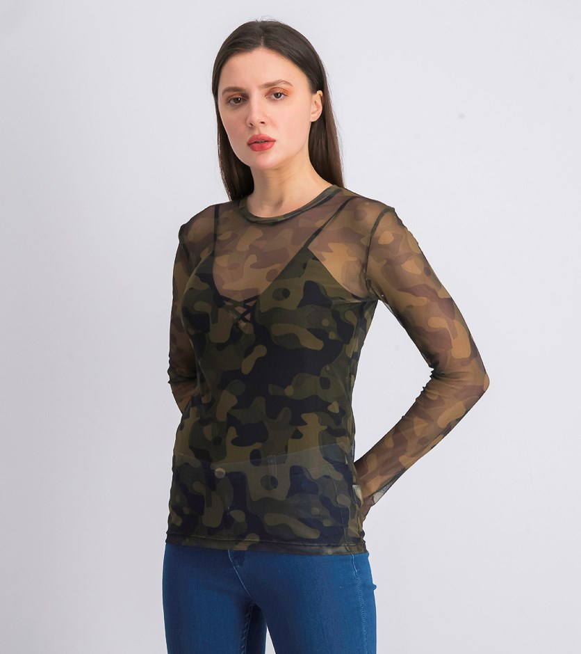 Women's Camo Net Top, Green Combo