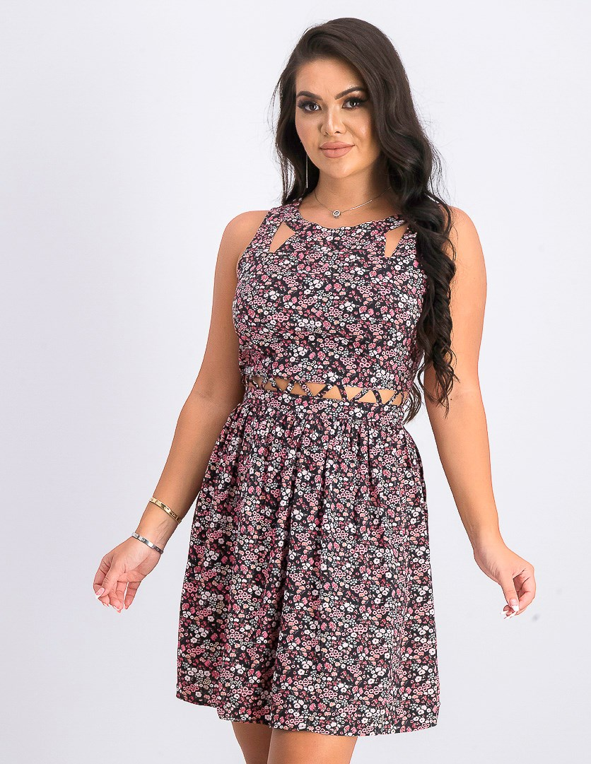 Women's Floral Dress, Black/Pink