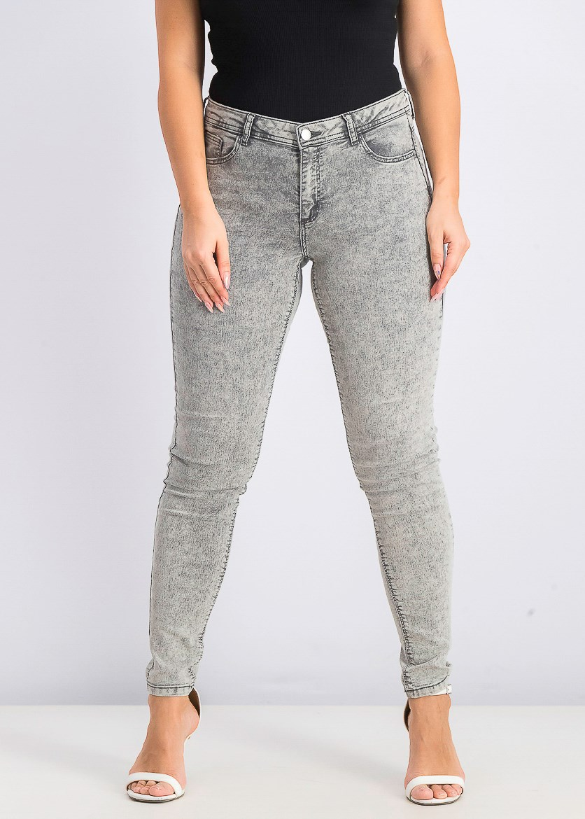 Women's Push Up Jeans, Grey Wash