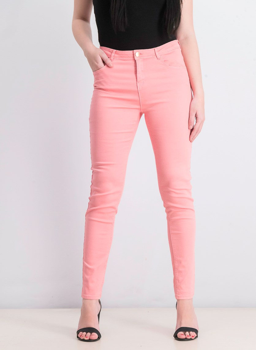 Women's Colored Skinny Jeans, Pink
