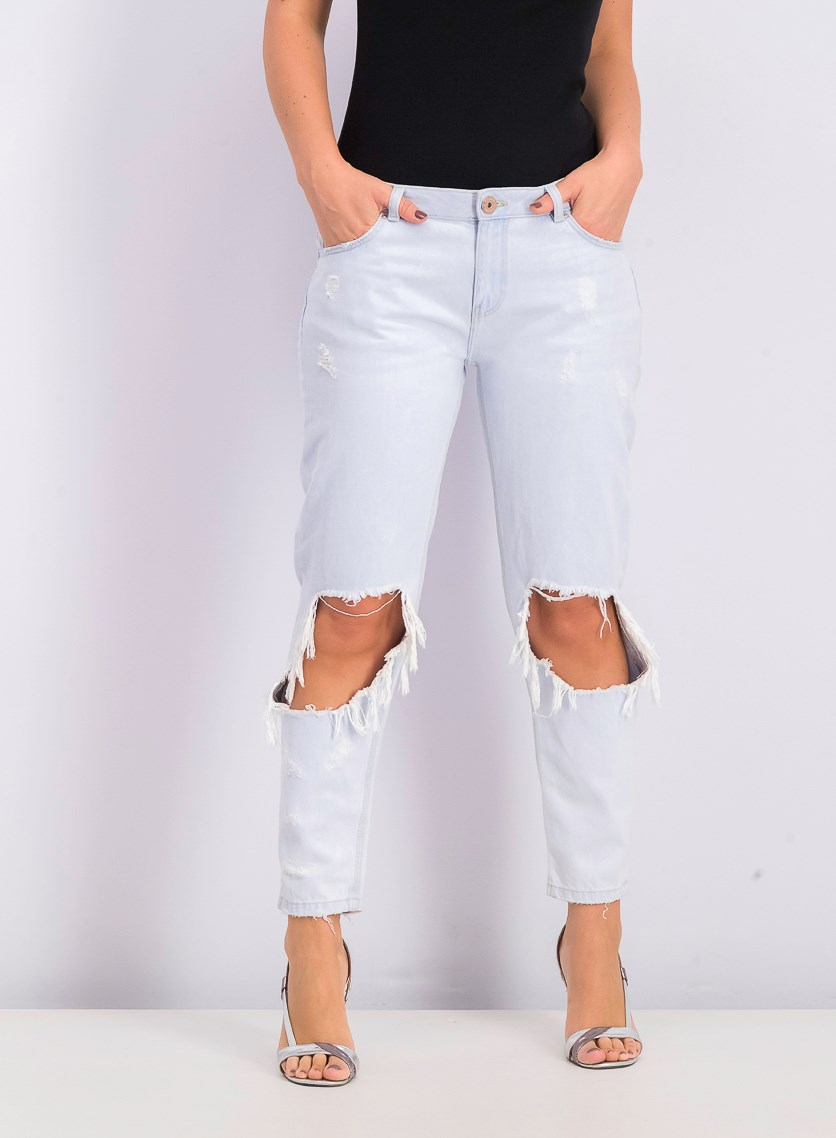 Women's Distressed Rip Jeans, Light Blue