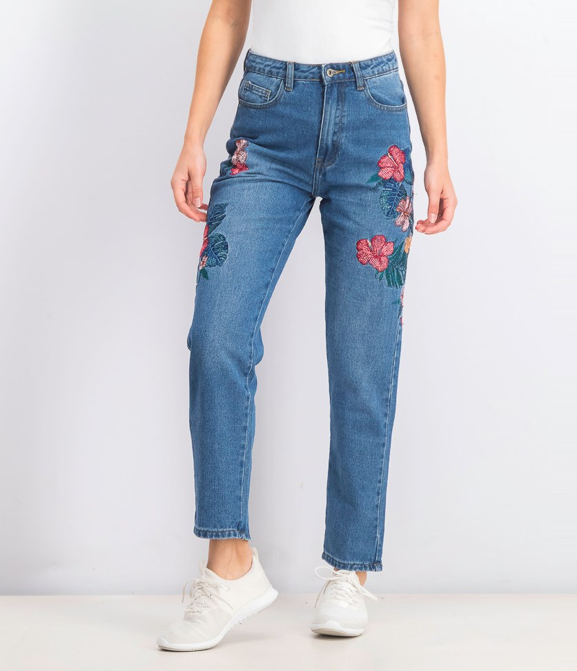 Women's Embroidered Slim Jeans, Blue